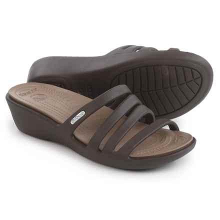Crocs Rhonda Wedge Sandals (For Women) in Espresso/Mushroom - Closeouts