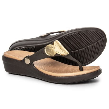 459e7a6b6ef Crocs Sanrah Embellished Wedge Flip-Flops (For Women) in Espresso Gold