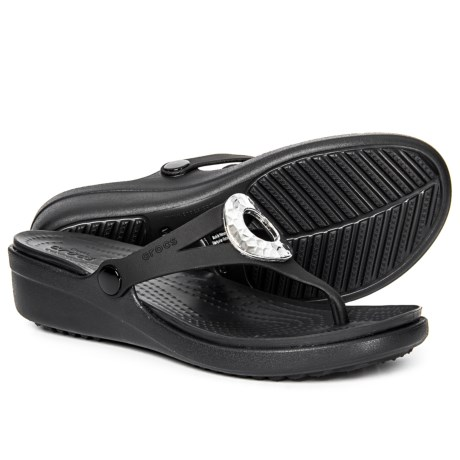 f5fe9d9b7ead Crocs Sanrah Hammered Metallic Wedge Flip-Flops (For Women) in Black Black