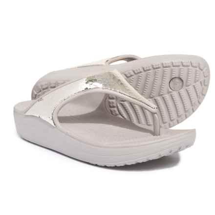 Crocs Sloane Embellished Flip-Flops (For Women) in Platinum/Platinum