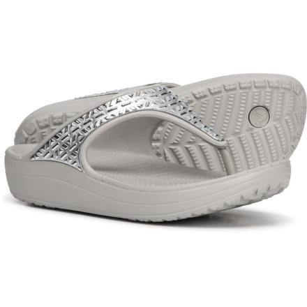 41e228a8bbae Crocs Sloane Graphic Etch Metallic Flip-Flops (For Women) in Pearl White