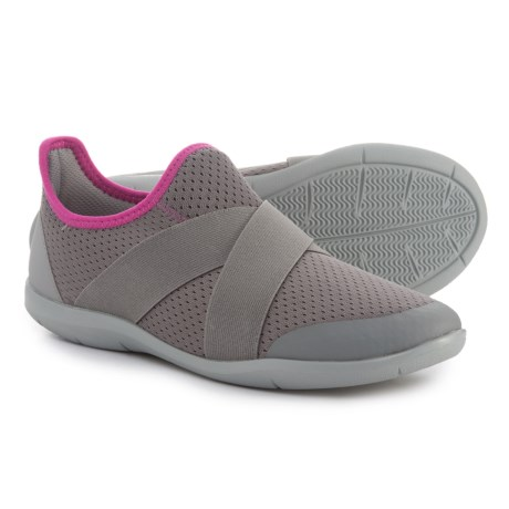 Crocs Swiftwater Cross-Strap Sneakers (For Women) in Smoke/Light Grey