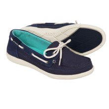 Crocs Walu Canvas Boat Shoes (For Women) in Nautical Navy/Stucco - Closeouts