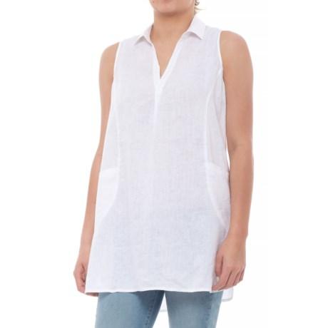 Cross-Dye Linen Pop Over Shirt - Sleeveless (For Women)