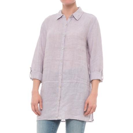 Image of Cross-Dyed Linen Tunic Shirt - Long Sleeve (For Women)
