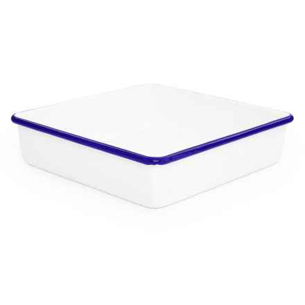 Crow Canyon Enamelware Brownie/Cake Pan in White/Blue - Closeouts