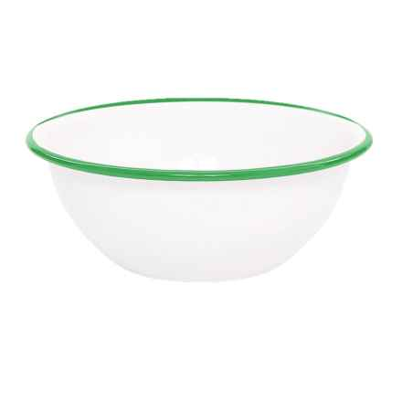 Crow Canyon Enamelware Cereal Bowl in White/Emerald - Closeouts