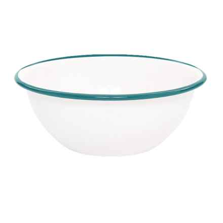 Crow Canyon Enamelware Cereal Bowl in White/Teal - Closeouts