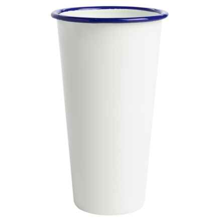 Crow Canyon Enamelware Jumbo Tumbler - 26 fl.oz. in White/Blue - Closeouts