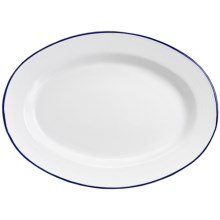 Crow Canyon Enamelware Oval Plate in White W/Blue Rim - Closeouts