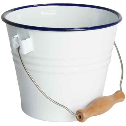 Crow Canyon Enamelware Small Pail in White W/Blue Rim - Closeouts