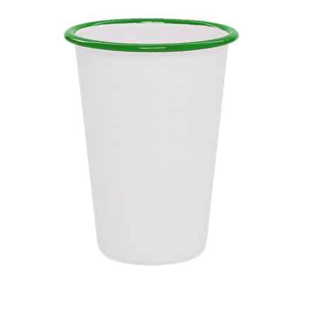 Crow Canyon Enamelware Tumbler in White/Emerald - Closeouts