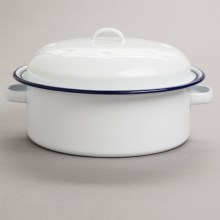 Crow Canyon Junior Stockpot - 2.5 qt., Enamelware in White / Blue - Closeouts