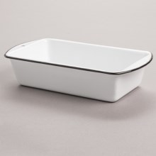 Crow Canyon Loaf Pan - Enamelware in White / Black - Closeouts