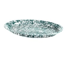 Crow Canyon Oval Platter - Enamelware in Green Marble - Closeouts