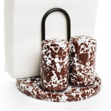 Crow Canyon Salt, Pepper and Napkin Holder - Enamelware in Brown - Closeouts