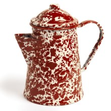 Crow Canyon Small Coffee Pot - Enamelware in Burgundy Cream Marble - Closeouts