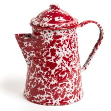 Crow Canyon Small Coffee Pot - Enamelware in Red Marble - Closeouts