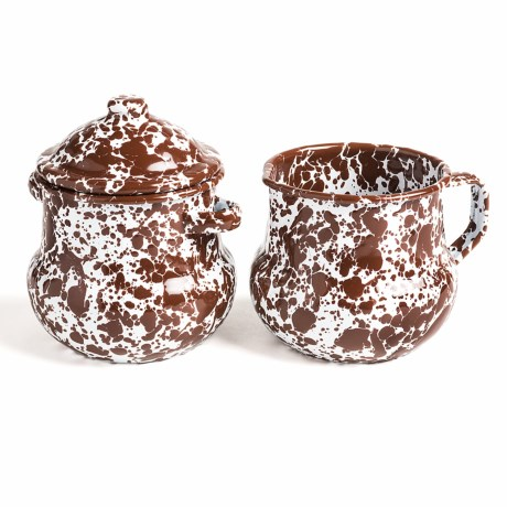 Crow Canyon Sugar and Creamer Set - Enamelware, 3-Piece in Brown