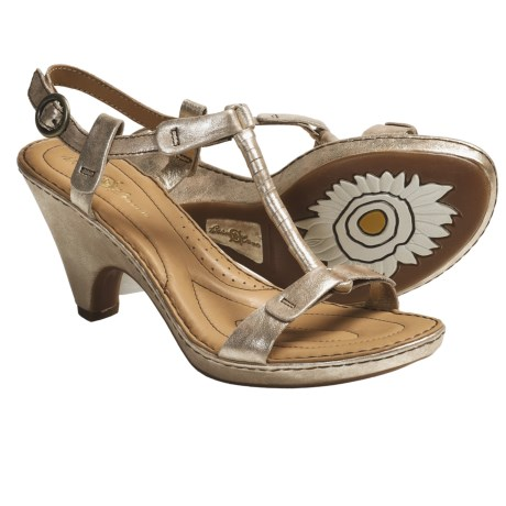 Crown by Born Alcala II T-Strap Sandals - Leather (For Women) in Gold Metallic