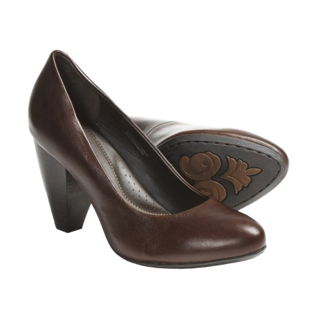 Crown by Born Barb Leather Pumps (For Women) in Dark Brown Glazed Veg