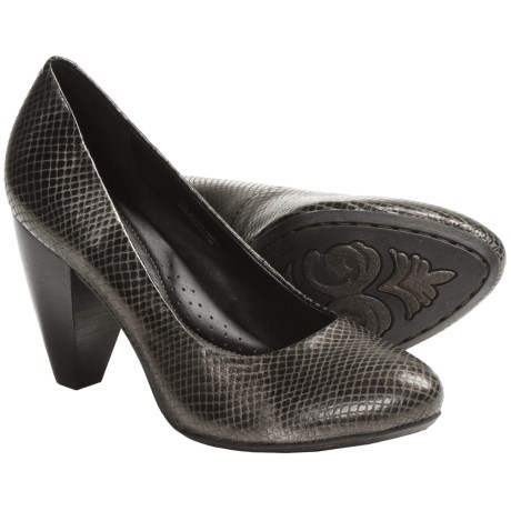 Crown by Born Barb Leather Pumps (For Women) in Fango Printed Snake