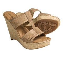 Crown by Born Didi Wedge Sandals - Leather (For Women) in Tan Washed Vegetable - Closeouts