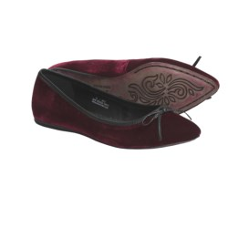 Crown by Born Franca Ballet Flats (For Women) in Black/Red Velvet