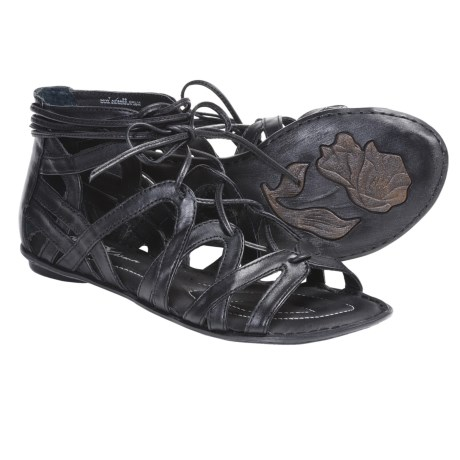 Crown by Born Grammercy Gladiator Sandals - Leather (For Women) in Black Leather