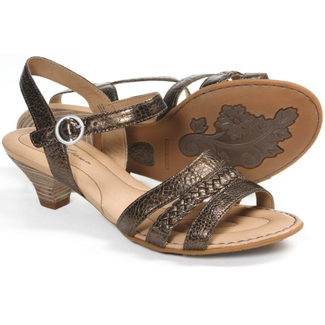 Crown by Born Jessika Leather Sandals (For Women) in Pine Nuts Metallic