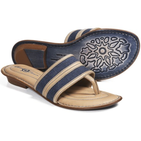 Crown by Born Natania Linen Sandals (For Women) in Denim