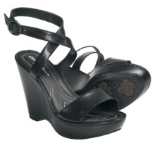 Crown by Born Tonia Wedge Sandals - Leather (For Women) in Black Leather - Closeouts