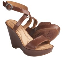 Crown by Born Tonia Wedge Sandals - Leather (For Women) in Rust Leather - Closeouts
