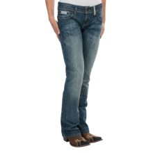 Cruel Girl Blake Criss-Cross Jeans - Low Rise, Bootcut (For Women) in Medium Stonewash - Closeouts