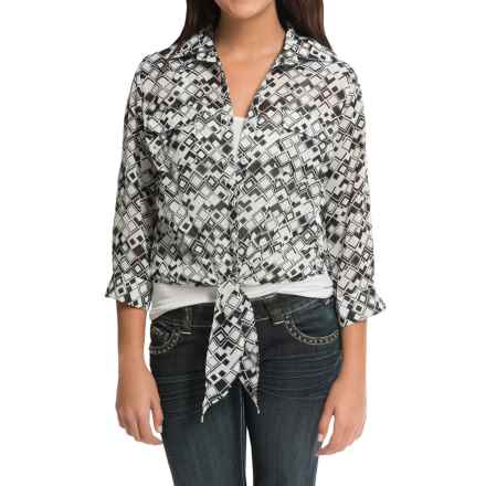 Cruel Girl Chiffon Printed Shirt - 3/4 Sleeve (For Women) in Gray Mint Black - Closeouts