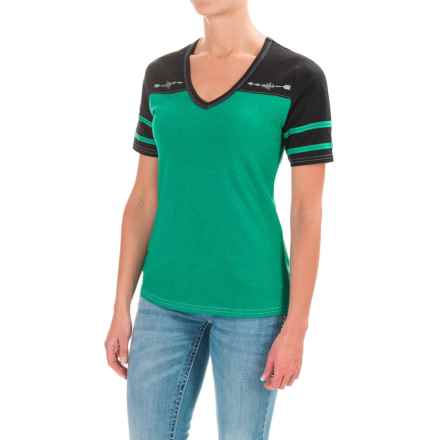Cruel Girl Cotton Jersey Blend T-Shirt - V-Neck, Short Sleeve (For Women) in Heather Green - Closeouts