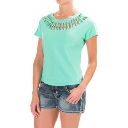 Cruel Girl Cutout Neck Shirt - Short Sleeve (For Women) in Teal - Closeouts