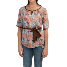 Cruel Girl Drape Print Shirt - 3/4 Sleeve (For Women) in Brown Paqua Rose - Closeouts