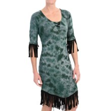 Cruel Girl Fringe Dress - 3/4 Sleeve (For Women) in Green - Closeouts