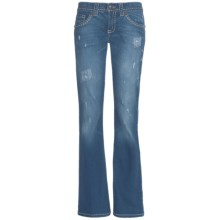 Cruel Girl Jacey Jeans - Flare Leg, Rip & Repair (For Women) in Light Stone - Closeouts