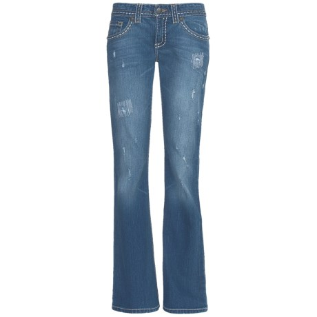 Cruel Girl Jacey Jeans - Flare Leg, Rip & Repair (For Women) in Light Stone