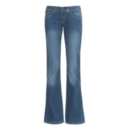 Cruel Girl Marla Jeans - Flare Leg, Heavy Stitching (For Women) in Medium Sanding Stone