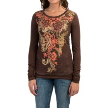 Cruel Girl Printed Burnout Shirt - Long Sleeve (For Women) in Brown - Closeouts
