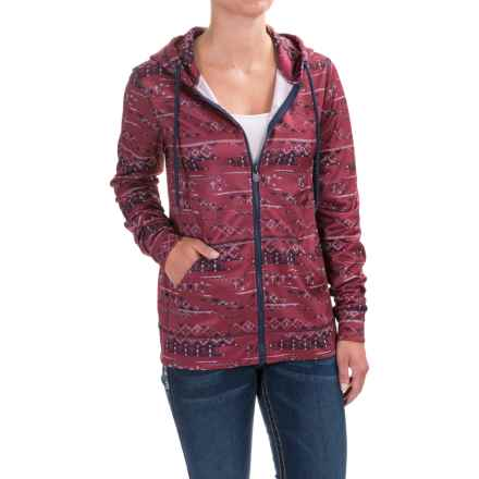 Cruel Girl Printed Fleece Hoodie (For Women) in Burgandy - Closeouts