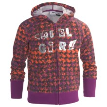 Cruel Girl Printed Hoodie Sweatshirt - Zip (For Girls) in Purple - Closeouts