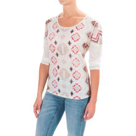 Cruel Girl Southwest Shirt - 3/4 Sleeve (For Women) in Ivory - Closeouts
