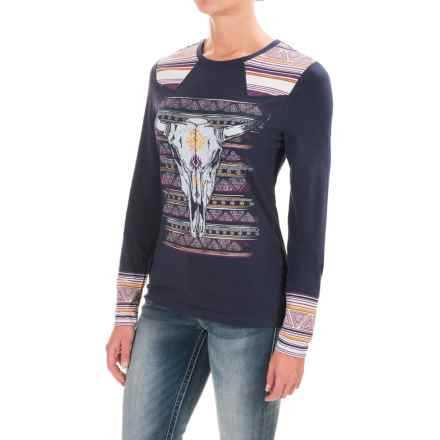 Cruel Girl Steer Shirt - Stretch Cotton, Long Sleeve (For Women) in Navy - Closeouts
