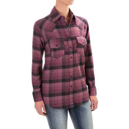 Cruel Girl Twill Plaid Boyfriend-Fit Shirt - Snap Front, Long Sleeve (For Women) in Purple - Closeouts