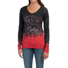 Cruel Girl V-Neck Shirt - Long Sleeve (For Women) in Red Black Print - Closeouts
