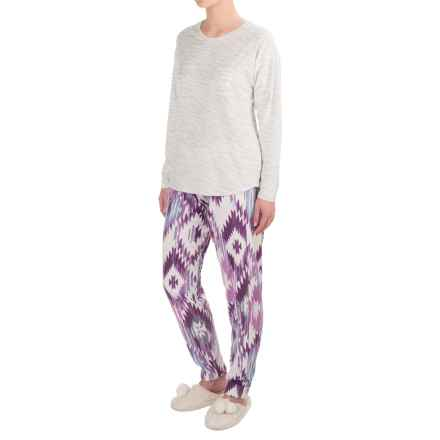 Cuddl Duds Aztec Microfleece Pajamas - Long Sleeve (For Women) in Violet - Closeouts